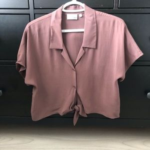 Wilfred Free Tie-Front Short Sleeve Blouse
